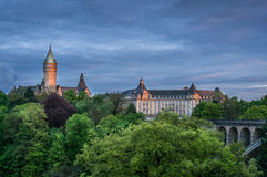 Por do sol em Luxemburgo Fotos de Stock