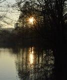 Por do sol em Lyon fotografia de stock