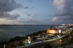 Por do sol em México, Cancun Laguna Nichupte Fotografia de Stock Royalty Free