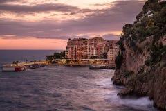 Por do sol em Mônaco imagens de stock royalty free