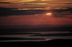 Por do sol em Maine, EUA Imagem de Stock