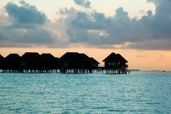 Por do sol em Maldives fotografia de stock