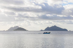 Por do sol em Mana Island em Fiji Fotografia de Stock