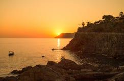 Por do sol em Manarola, 5 Terre, La Spezia, Itália imagens de stock royalty free