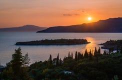 Por do sol em Mani, Grécia imagem de stock royalty free
