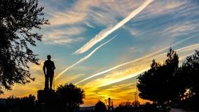Por do sol em Manzanares el Real fotografia de stock