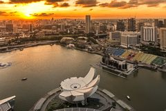 Por do sol em Marina Bay, Singapura Fotografia de Stock Royalty Free