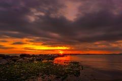 Por do sol em Marina di Massa Imagens de Stock Royalty Free