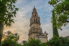 Por do sol em Mezquita Córdova Imagem de Stock Royalty Free