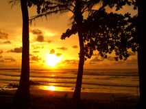 Por do sol em Miri, Sarawak Fotos de Stock