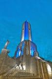 Por do sol em Monumento um la Bandera em Rosario Fotografia de Stock