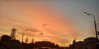 Por do sol em Moscovo foto de stock