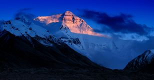 Por do sol em Mt.Everest Fotografia de Stock Royalty Free