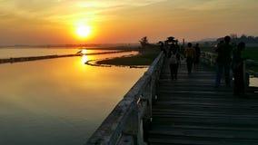 Por do sol em Myanmar Imagem de Stock Royalty Free