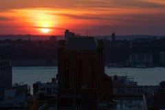 Por do sol em New York Fotografia de Stock