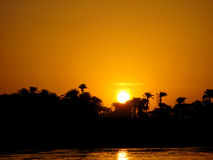 Por do sol em Nile Foto de Stock Royalty Free