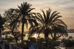Por do sol em Nile River Imagens de Stock