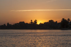 Por do sol em Nile River Foto de Stock Royalty Free
