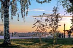 Por do sol em Nizhny Novgorod Imagens de Stock