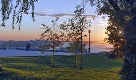 Por do sol em Nizhny Novgorod Fotos de Stock