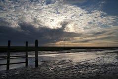 Por do sol em Noordpolderzijl imagem de stock royalty free