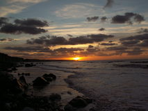 Por do sol em normandy Fotos de Stock