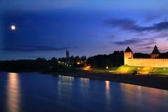 Por do sol em Novgorod Imagens de Stock Royalty Free