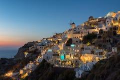 Por do sol em Oia, Santorini Fotos de Stock Royalty Free