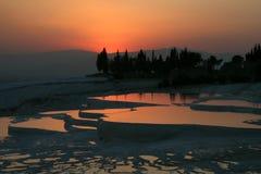 Por do sol em Pamukkale Imagens de Stock