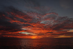 Por do sol em Papua Fotos de Stock