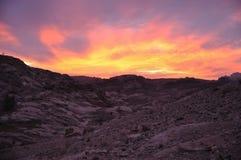 Por do sol em PETRA, barranco Musa fotografia de stock