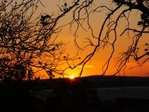 Por do sol em Porto Alegre, Brasil imagem de stock