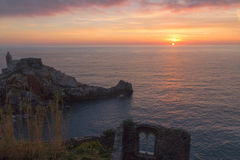 Por do sol em Portovenere Imagens de Stock Royalty Free