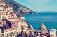 Por do sol em Positano, costa Itália de Amalfi Fotografia de Stock