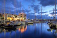 Por do sol em Puerto de Mogan, Gran Canaria, Spain Imagens de Stock Royalty Free