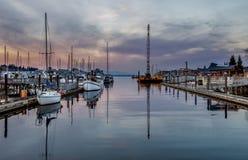 Por do sol em Puget Sound fotografia de stock