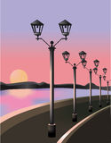 Por do sol em Quay Fotografia de Stock Royalty Free
