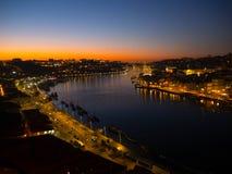 Por do sol em Ribeira, Porto, Portugal Fotografia de Stock