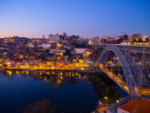 Por do sol em Ribeira, Porto, Portugal Imagens de Stock Royalty Free