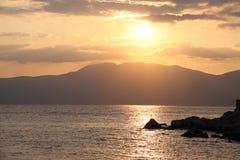 Por do sol em Rijeka Imagens de Stock