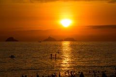 Por do sol em Rio de janeiro Fotos de Stock