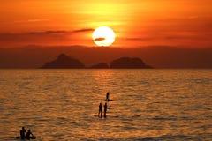 Por do sol em Rio de janeiro Foto de Stock