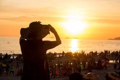 Por do sol em Rio de janeiro Foto de Stock Royalty Free