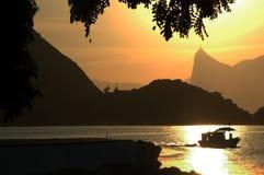 Por do sol em Rio de Janiero Imagem de Stock