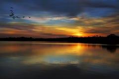 Por do sol em Rio Negro Imagens de Stock Royalty Free