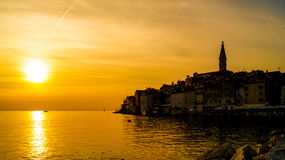 Por do sol em Rovinj Fotos de Stock Royalty Free