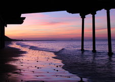 Por do sol em Saltburn Fotografia de Stock Royalty Free