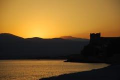Por do sol em samos, greece Imagens de Stock Royalty Free
