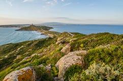 Por do sol em San Giovanni di Sinis, Sardinia imagem de stock royalty free