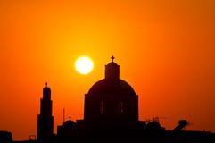 Por do sol em Santorini fotografia de stock royalty free
